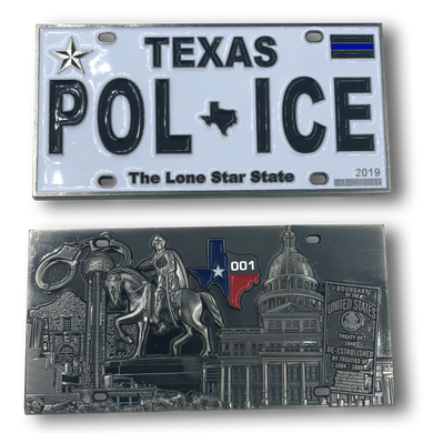 H-004 Texas Police License Plate Challenge Coin Border Patrol, Sheriff, CBP, Law Enforcement