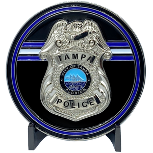 EL2-016 Tampa Florida Police Office Challenge Coin Tampa Bay Thin Blue Line Back the Blue TPD Tampa Police Department