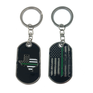 Texas Thin Green Line Challenge Coin Dog Tag Keychain Police CBP Sheriff Border Patrol Army Marines