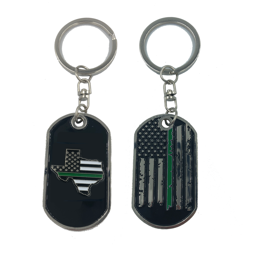 HH-011 Texas Thin Green Line Challenge Coin Dog Tag Keychain Police CBP Sheriff Border Patrol Army Marines