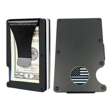 EL3-009 Thin Gray Line Correctional Officer Money Clip RFID Blocking Front Pocket Wallet Premium Minimalist Wallets for Men Minimalist Slim Credit Card Holder Business Card Holder Mens Aluminum Metal Wallet CO Corrections