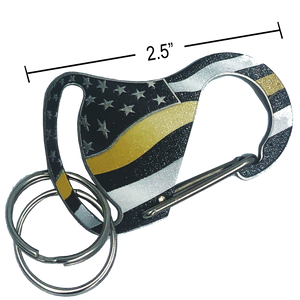 Thin Gold Line Carabiner Keychains with 2 key rings 911 dispatcher yellow security