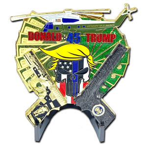 MC-001 Yuge Glock and 1911 Thin Blue Line Cops for Donald Trump POTUS MAGA Marine One 1 helicopter Challenge Coin