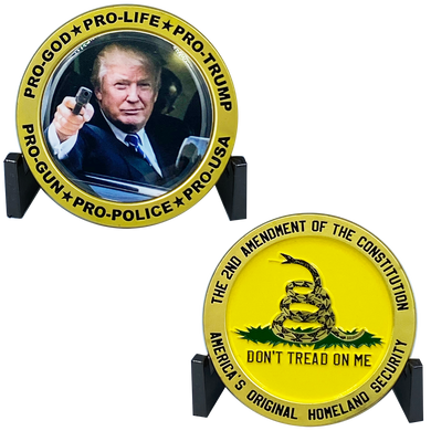 DD-011 Donald J. Trump 2A Don't Tread on Me Flag 2nd Amendment  MAGA Glock President 45 POTUS Challenge Coin