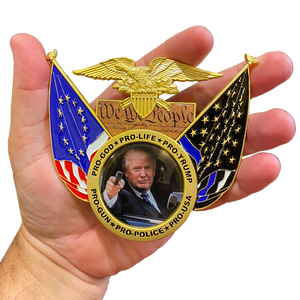 BP-WS President Trump Pro-Gun Pro-Life Pro-Gun Pro-Police 2A Don't Tread on Me, We The People, Betsy Ross, 2nd Amendment Challenge Coin Medallion MAGA 45 Donald J.