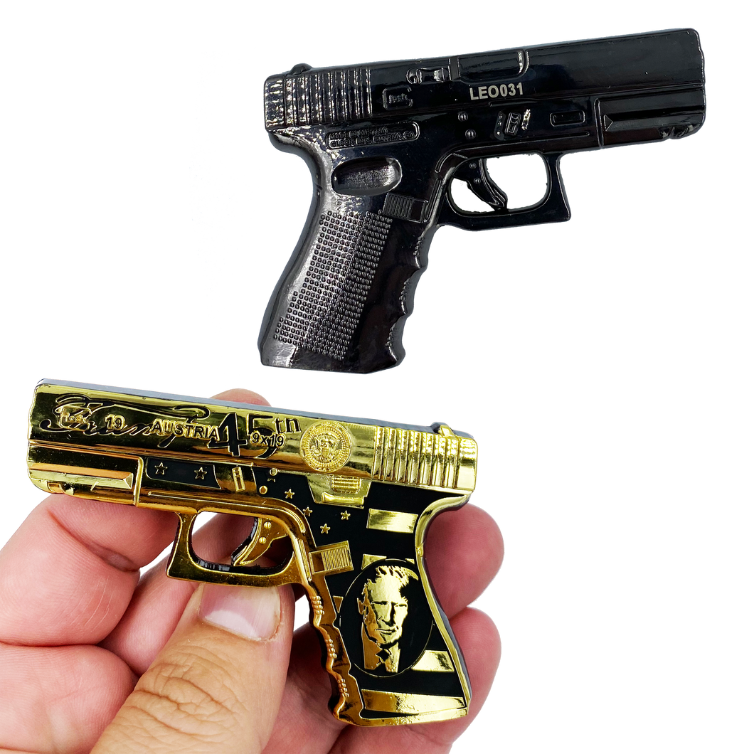 CC-004 Trump Maga 45 Glock inspired Challenge Coin Medallion dual plated with black nickel and gold