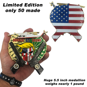 Donald Trump POTUS Punisher with dual 1911 and helicopter (only 50 made) Secret Service Challenge Coin