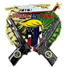 Thin Blue Line Cops for Donald Trump POTUS Punisher MAGA dual 1911 and helicopter (only 50 made) Challenge Coin