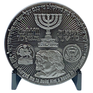 DL2-16 Rare Nickel plated Trump Israel Jerusalem MAGA Challenge Coin 70 years Temple