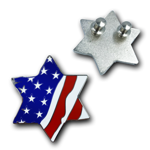 HH-019 Jewish Star of David Red, White, and Blue American Flag U.S.A. Pin Cloisonné with deluxe clasps Israel