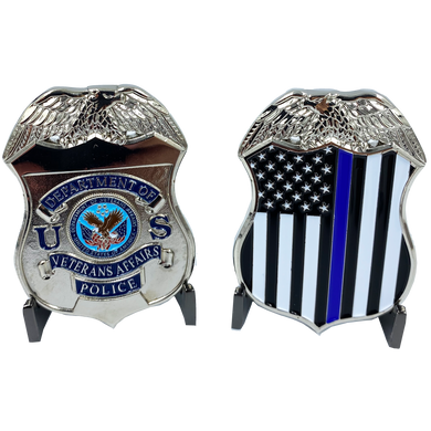 JJ-007 VA Veterans Affairs Challenge Coin Police Thin Blue Line Flag