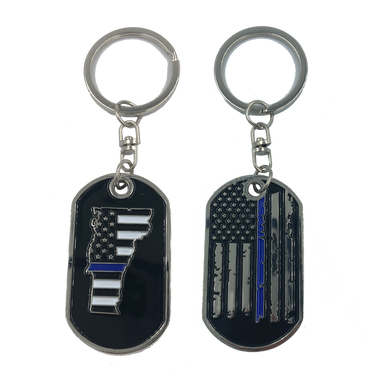 Vermont Thin Blue Line Challenge Coin Dog Tag Keychain Police Law Enforcement