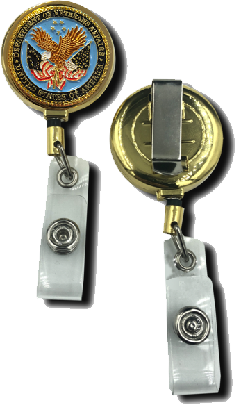 CL8-01 Veterans Affairs Retractable ID reel metal ID card holder VA