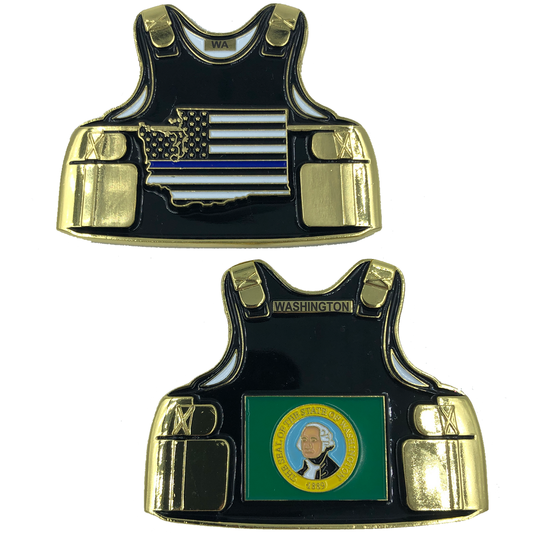 C-015 Washington LEO Thin Blue Line Police Body Armor State Flag Challenge Coins
