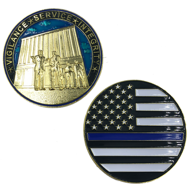 J-016 Thin Blue Line Trump MAGA at The Wall CBP Challenge Coin