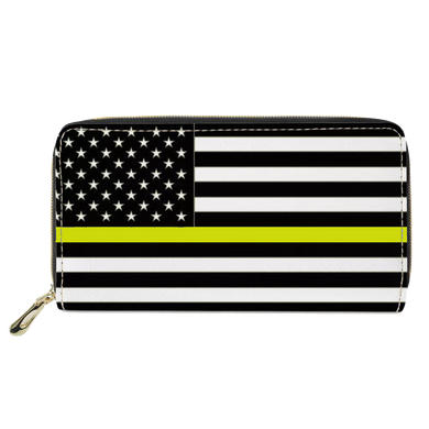 REF-003 Thin Gold Line flag zippered wallet for 911 Emergency Dispatcher or gift for Wife, Husband, family yellow