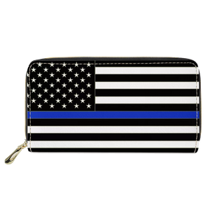 REF-001 Thin Blue Line flag zippered wallet for Police Officer or gift for Wife, Husband, family