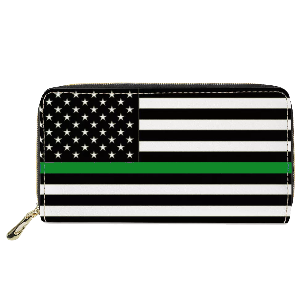 REF-002 Thin Green Line flag zippered wallet for Border Patrol Agent or gift for Wife, Husband, family Deputy Sheriff Army Marines