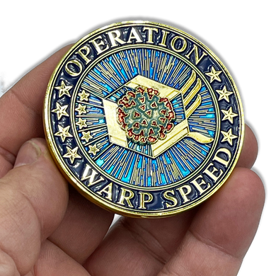 EL4-009 Operation Warp Speed Challenge Coin Covid-19 Vaccine Task Force Department of Defense HHS CDC Pandemic Corona Virus