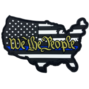 CL4-09 We The People Thin Blue Line PVC Patch hook and loop back 2nd Amendment Police
