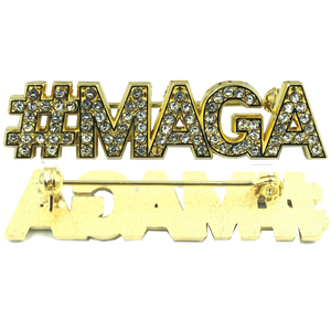 WHITE: Crystal #MAGA pin TRUMP MAGA Make America Great Again