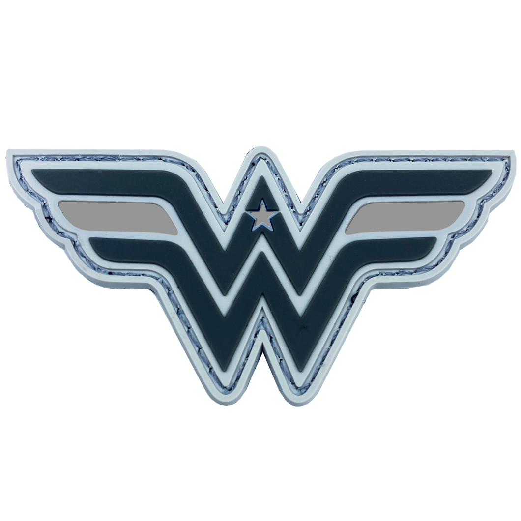 DL6-09 Wonder Woman inspired Women in Law Enforcement Thin Gray Line Corrections Correctional Officer CO Patch hook and loop back PVC