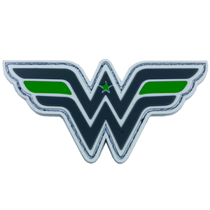 DL5-09 Wonder Woman inspired Women in Law Enforcement Thin Green Line Police Deputy Sheriff Army Marines Border Patrol CBP Patch hook and loop back PVC