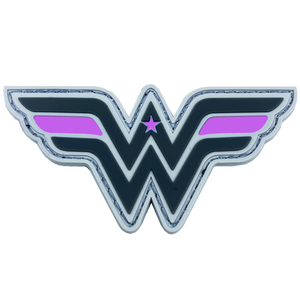 DL4-08 Wonder Woman inspired Women in Law Enforcement Thin Pin Line Patch hook and loop back PVC Breast Cancer Awareness Cancer Awareness