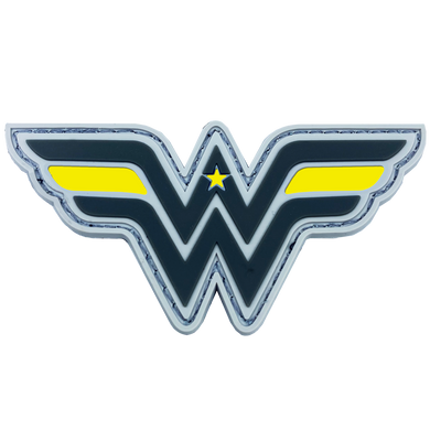 DL4-09 Wonder Woman inspired Women in Law Enforcement Thin Gold Line 911 Emergency Dispatcher Patch hook and loop back PVC yellow