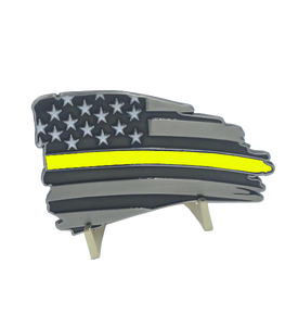 Thin Gold Line Flag Decal with 3M Tape 911 dispatcher Car Truck yellow