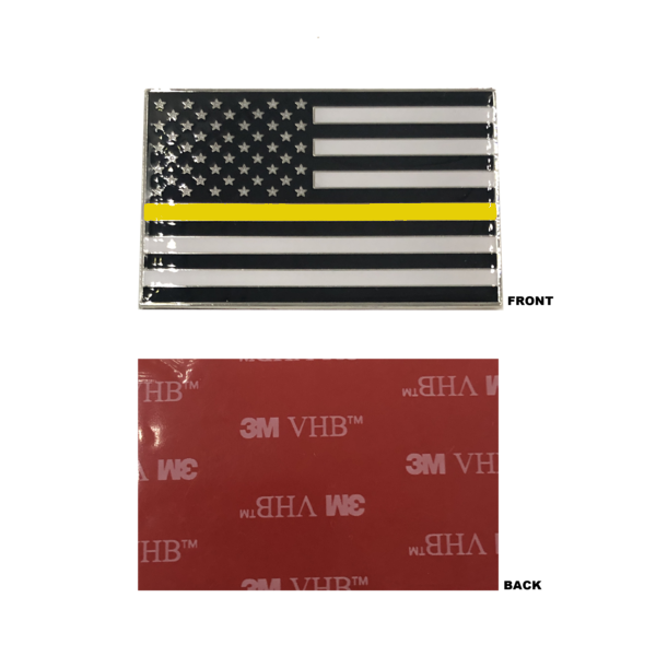 DL9-06 Thin Gold Line US Flag Vehicle Emblem high-end metal decal with 3M VHB Tape 911 Dispatcher Emergency Yellow