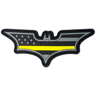 CL4-14 Batman inspired 911 Emergency Dispatcher Thin Gold Line PVC Patch hook and loop back Yellow