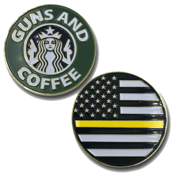 Thin Yellow/Gold Line Guns and Coffee Challenge Coin Police 911 dispatcher