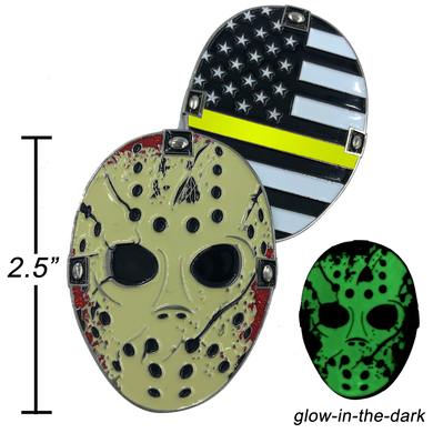 F-022 Thin Gold Line Jason Voorhees Challenge Coin Friday the 13th 911 Emergency Dispatcher Yellow