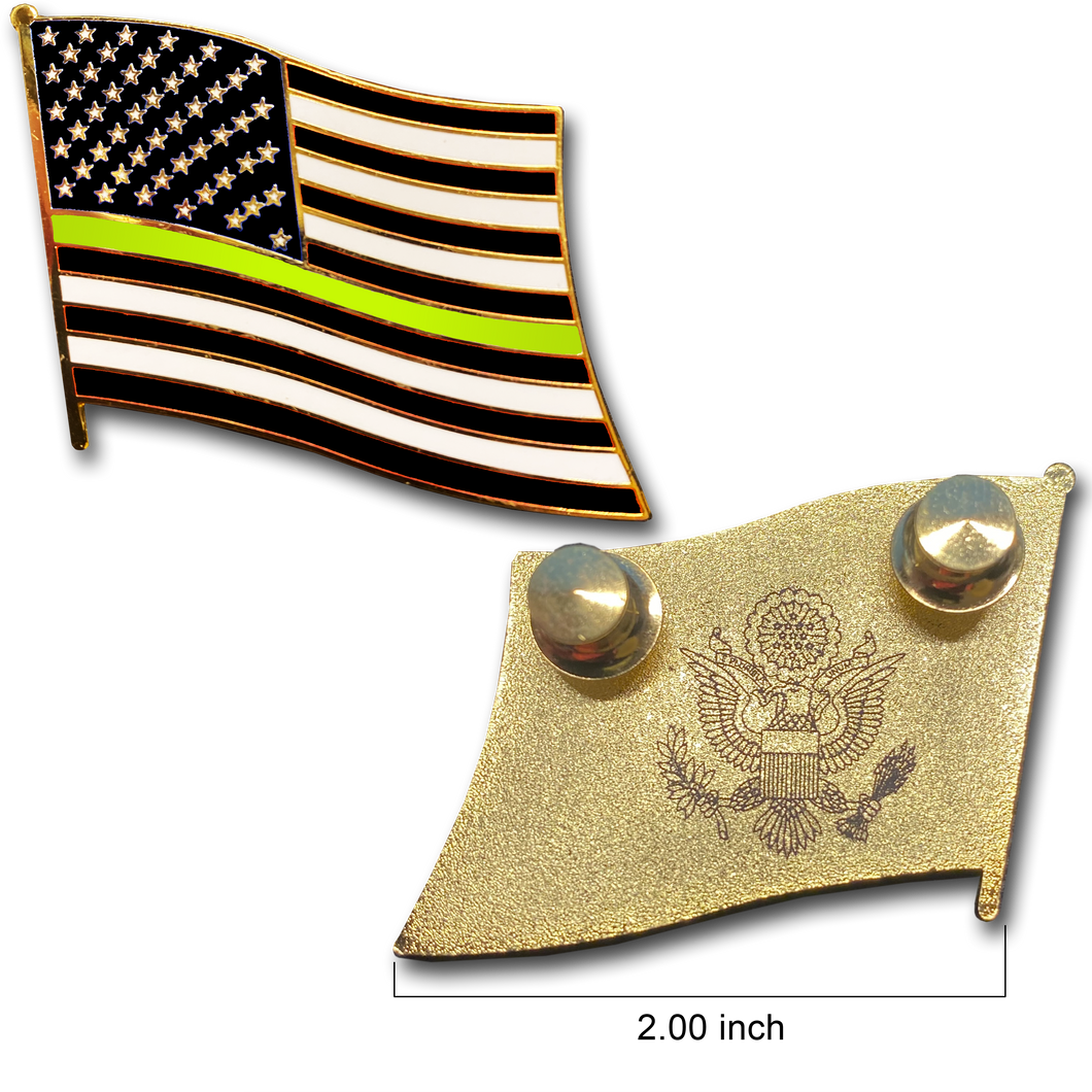 Thin Gold Line dispatcher Large cloisonné American Flag Lapel Pin with 2 pin posts, 2 deluxe clasps security yellow gold 911