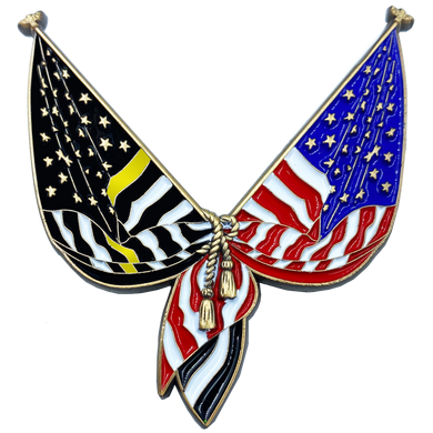 DL10-02 Thin Gold Line Flag Pin 2 inch with dual pin posts 911 Emergency Dispatched yellow
