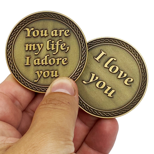 DL8-07 I Love You You are my Life, I Adore You Challenge Coin Valentine's Day Anniversary Gift Husband Wife Girlfriend Boyfriend men women