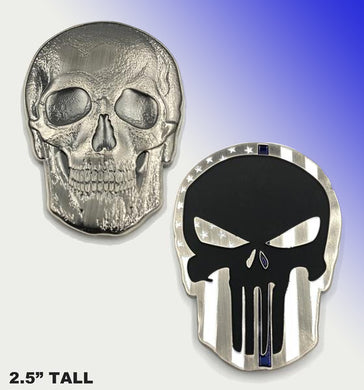 Punisher Skull Thin BLUE line challenge coin (2.5