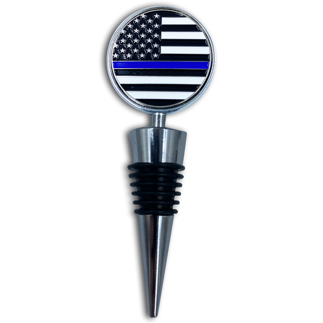 AA-012 Thin Blue Line American Flag Wine Bottle Stopper Police Challenge Coin