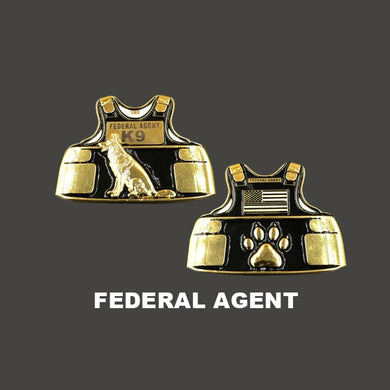 FEDERAL AGENT K9 Body Armor Challenge Coin Canine CBP HSI FBI Secret Service ATF ICE