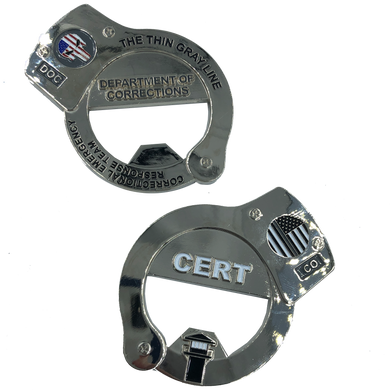 CERT Thin Gray Line Punisher HANDCUFFs Challenge Coin Bottle Opener Corrections Correctional Officer