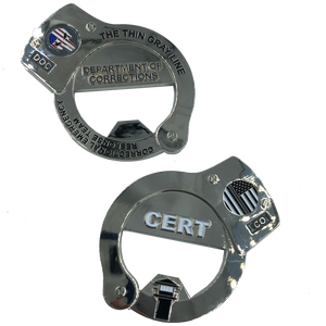 KK-013 CERT Thin Gray Line Punisher HANDCUFFs Challenge Coin Bottle Opener Corrections Correctional Officer