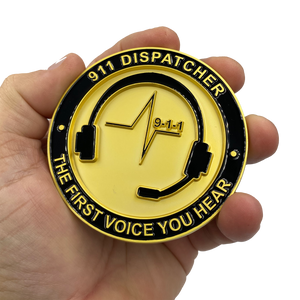 EL4-015 World's Biggest 911 Emergency Dispatcher Challenge Coin Thin Gold Line The First Voice Your Hear