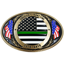EL3-006 Border Patrol Agent Deputy Sheriff Army Marines CBP Police Officer Antique Gold Thin Green Line Police American Flag Belt Buckle America's Front Line Oath Taker BPA Border Patrol Agent