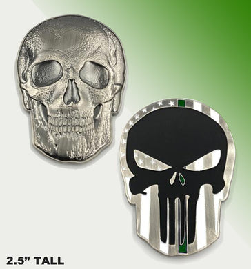 Punisher Skull Thin Border Patrol GREEN line challenge coin (2.5