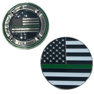 Thin Green Line Core Values Challenge Coin Bleed Green Border Patrol CBP