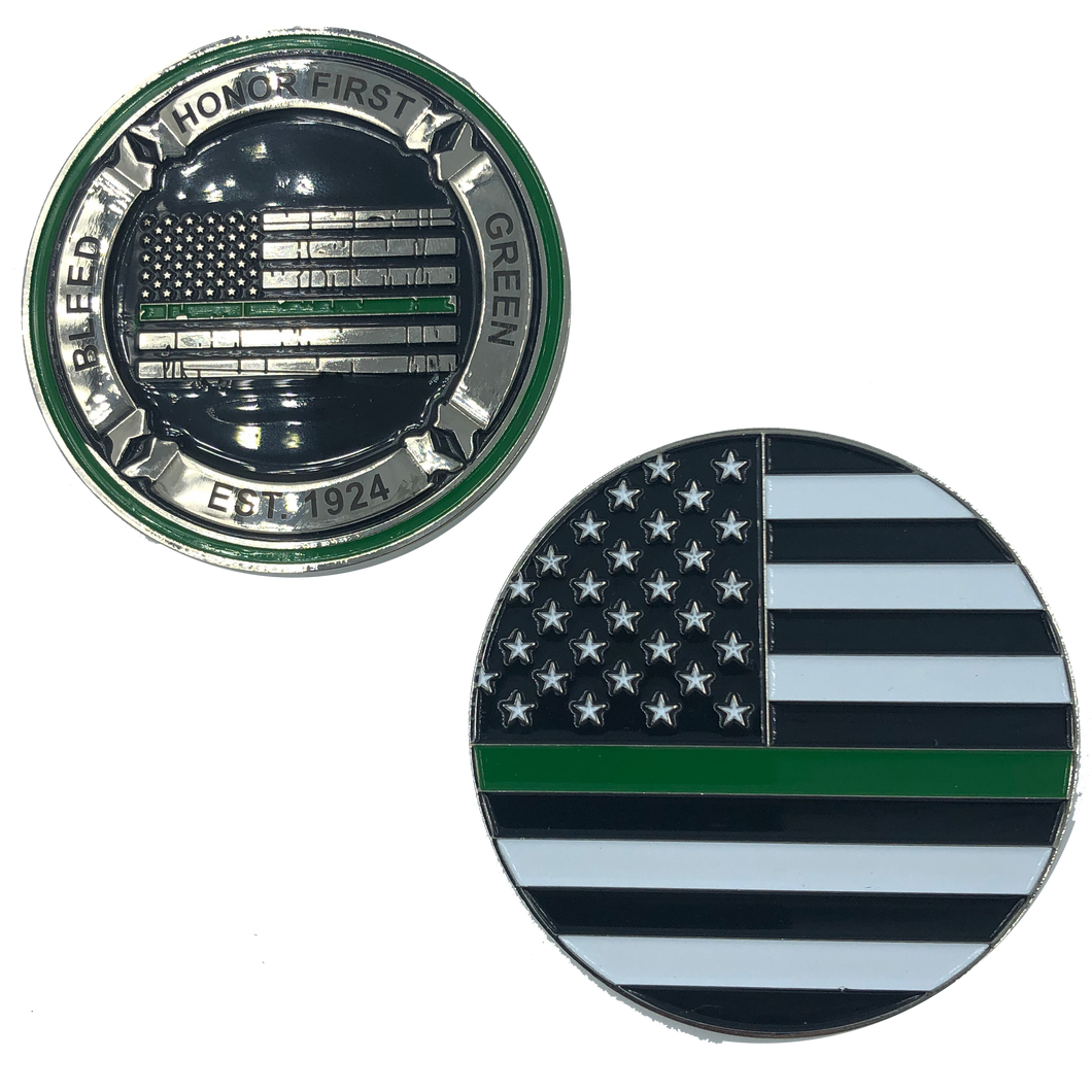 K-010 Thin Green Line Core Values Challenge Coin Bleed Green Border Patrol CBP