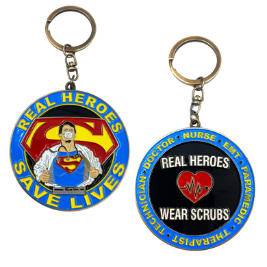 CL3-15 Superman Doctor Nurse RN EMT Paramedic Therapist Technician Keychain Pandemic