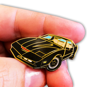 KITT Knight Rider Pin with red glitter scanner and 2 pin posts and deluxe pin clasps