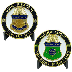 EL4-012 Border Patrol Agent Challenge Coin CBP BPA Challenge Coin Thin Green Line Honor First